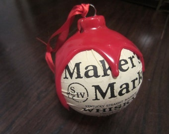 Makers Mark Bourbon Whisky Christmas Ornament Kentucky handmade with authentic Red Makers Wax & Label