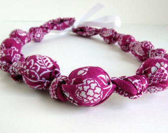 Magenta Beaded Nursing Necklace, Fabric Necklace, Statement Necklace, Teething Necklace