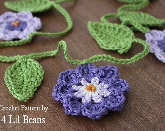 Crochet Pattern: Crochet Garland, Crochet Flower Garland, Dorm Decor, Wedding Decor, Crochet Flower Pattern, (Pattern 08) INSTANT DOWNLOAD