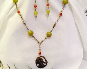 Antiqued Brass, Jade and Art Nouveau Lady Necklace and Earring Set