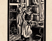 Tudor dairy Linocut Original Art Print - 'Butter Patting'