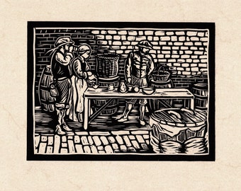 Tudor Pub Genuine Linocut Original Art Print - 'In the Brewhouse'