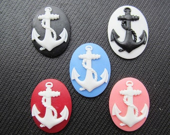 30mmx40mm Oval Flatback Resin  Relief Anchor Cabochon Cameo Charm Finding,Fit Base Setting Tray Bezel,DIY Jewellery Accessory