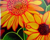 """bright, fun, colorful, whimsical, spiritual magnet of an original acrylic painting: """"Sunflowers From My Garden"""""""