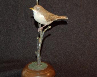 Wren wood carving, wooden bird, bird wood sculpture, bird carving, house wren, hand carved, birder gift, home decor, bird art, wedding gift
