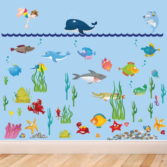 large under sea water world full color wall stickers. Black Bedroom Furniture Sets. Home Design Ideas