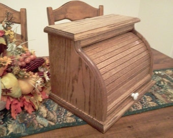 Solid Oak Hand Crafted Roll Top Bread Box