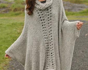 Knit poncho,Plus size poncho, Knitted poncho, Knit Poncho with Lace Pattern,Alpaca poncho,Boho poncho, Winter poncho. Made To Order