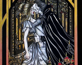 Eric and Christine Phantom of the Opera book cover inked watercolor illustration GOTHIC FANTASY ART wall decor