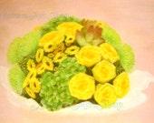 Original Pastel Drawing: Bouquet
