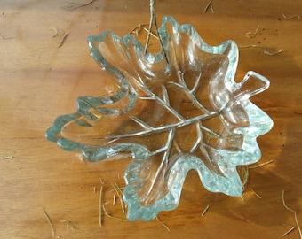 Vintage glass oak leaf bowl