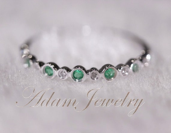 Unique Tsavorite Band Solid 14K White Gold Diamonds Engagement Ring/ Wedding Ring/  Half Eternity Band / Anniversary Ring