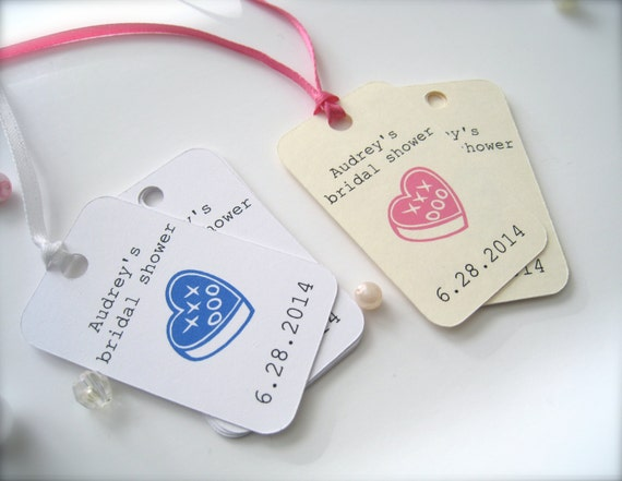 Personalized bridal shower favor tags, custom gift tags,party favor tags, thank you tags - 30 count