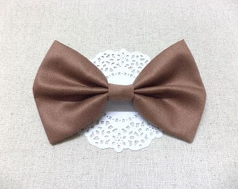 Brown hair bow, solid color fabric hair bow