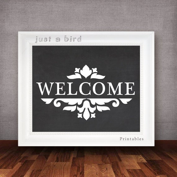 Entryway And Free Printables: Welcome Sign Chalkboard Printable Entryway Decor Welcome