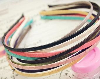 15pcs 5mm 15 Colors Satin Ribbon Covered Wrapped Metal(Steel) Headbands