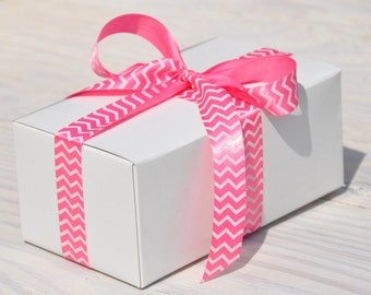 10 White Gift Boxes 7x4x3 One Piece with Tuck Lid Wedding Favor Box
