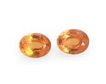 Orange Sapphire Loose Gemstones Set of 2 Oval Cut 1A Quality 4x3mm TGW 0.30 cts.