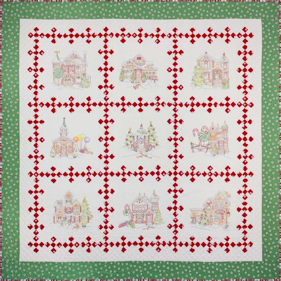 Gingerbread House Quilt Pattern Free : Crabapple Hill Gingerbread Square Quilt Pattern set