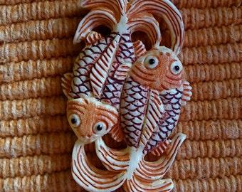 Carved Bone Double Koi Fish Pendant