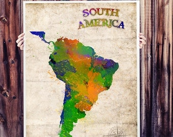 WATERCOLOR MAP - South America Map. Watercolor Painting. Watercolor poster. Handmade poster.