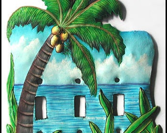 Metal Switch Plate cover, Switchplate, Tropical Coconut Tree Toggle Light Switch Plate Cover, Painted Metal, Switchplate Covers, S-1047-3