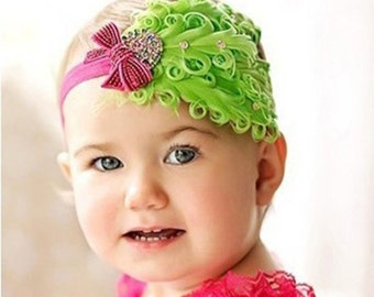 Green and Pink Feather Headband, Baby Feather Headband, Baby Girl Headband, Vintage Headband, Girls headband.