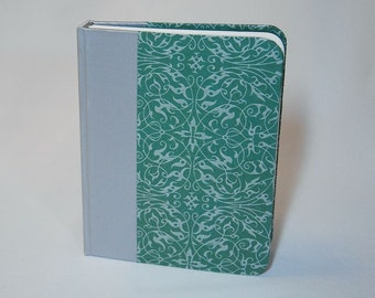 Blank travel journal, handmade in silver and sage green colors