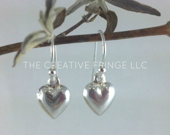 Small Silver Heart Earrings, Sterling Silver Heart Earrings, Dangly Silver Earrings