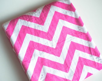 Chevron Minky Baby Blanket with Satin Back and Trim