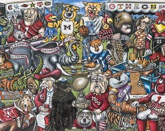 "Football Sports Art ""SEC Tailgate Party"" Print from Thomas Jordan Gallery"