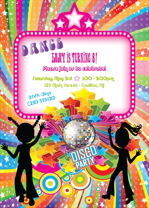Disco Birthday Party Invitations Free as awesome invitation template