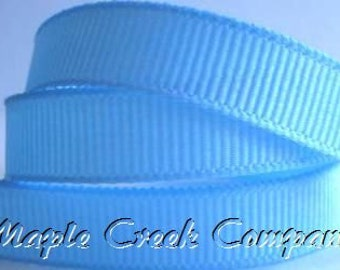 "5 yards Light Blue Grosgrain Ribbon, 4 widths available: 1 1/2"", 7/8"", 5/8"", 3/8"""