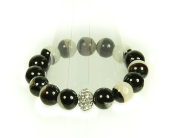 "Black and white agate gemstone stretch bracelet with ""bling"" ball."