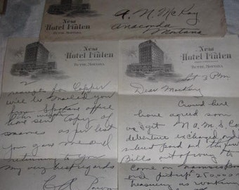 1929 New Hotel Finlen Butte Montana Stationery, Envelope - Maurice S. Weiss Manager 3 pcs - Missoulian Publishing Company Missoula Montana
