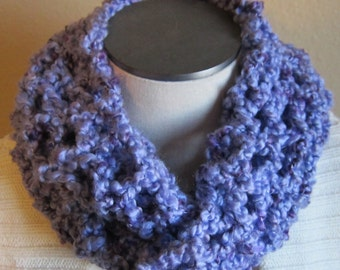 Crochet Cowl in Shades of Purple Extra Long