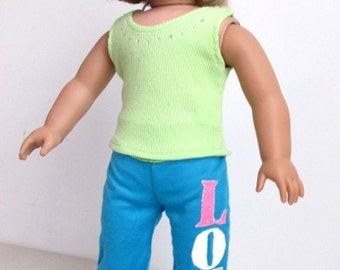 Love! American Girl Doll Clothes Green Top +Blue Pants 153N
