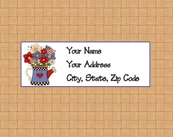 Address Labels Personalized Labels Return Labels July 4th Water Can with Flowers Label Patriotic Labels