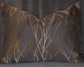 One 17x25 inch Chocolate and Bronze Embroidered Willow Pillow Cover. - HomeArchitecture