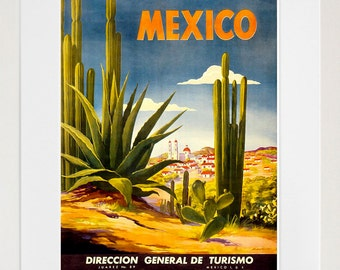 Mexico Travel Poster Mexican Art Print Retro (TR116)