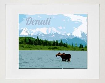 Denali National Park Art Alaska Travel Poster Print Home Decor (ZB2)