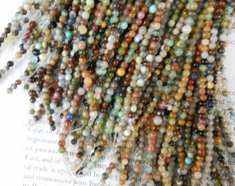 3mm round semi precious stone beads, mixed stone beads, 15.5 inch
