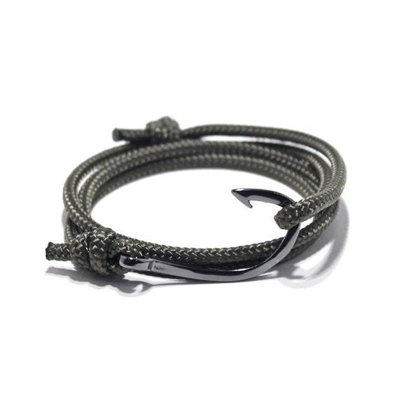 Fish hook bracelet in olive green men 39 s by portuniontrading for Mens fishing bracelet