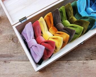 Bow Ties velvet, for men's, bow tie velvet red, midnight blue, black, pink, brown and various colors, gift for men, groomsmen, menswear