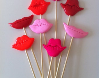 8PCS Photo Booth Props For Wedding/Party POLYMER CLAY Lips on sticks