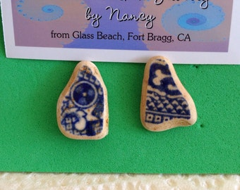 """Beach Polished Pottery """"Blue Willow"""" Earrings"""