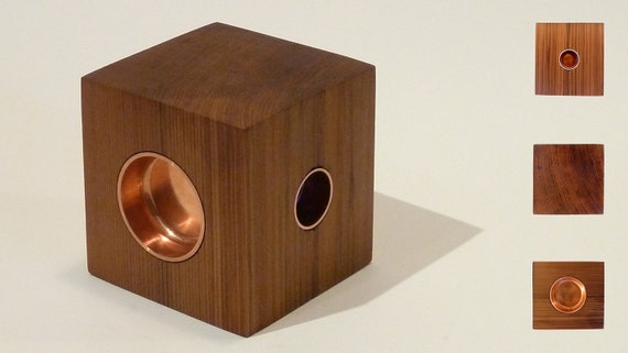 THE CUBE, a candle holder handcrafted from local Canadian wood, fitting standard candles and tea lights.