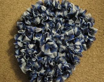 Ruffled Knit Fabric Scarf Shades of Dark and Light Blue