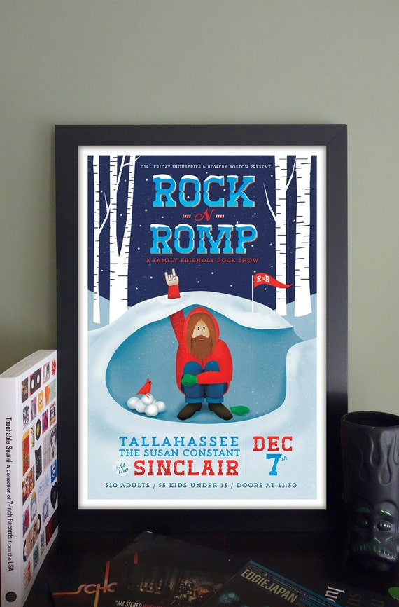 "Rock 'n' Romp Gig Poster with Tallahassee, The Susan Constant // The Sinclair, Cambridge, MA 13""x19"""