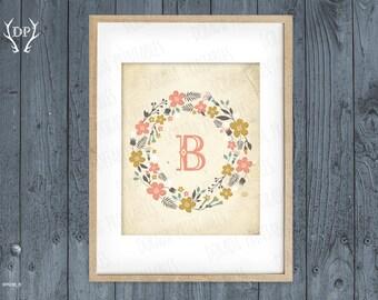 Flower wreath vintage monogrammed nursery decor printable art instant download